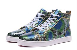 Cheap Leisure Shoes For Men Australia - 2019 Arrival Green Snakeskin Genuine Leather High Top Red Bottom Sneakers for mens womens cheap men leisure dress shoes trainer footwear