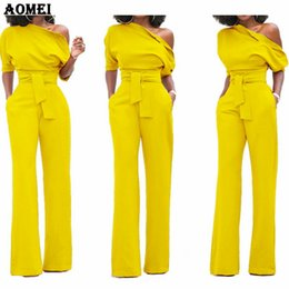 Fashion Jumpsuits For Women Australia - Women Jumpsuit One Shoulder With Sashes Pockets Officewear Romper Combinaison Fashion Female Jumpsuits For Elegant Lady Clothing Y19051601