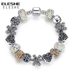 $enCountryForm.capitalKeyWord Australia - ELESHE 925 Tibetan Silver Charm Bracelet & Bangle With Heart Bead Murano Glass Crystal Charm for Women Wedding Vintage Jewelry