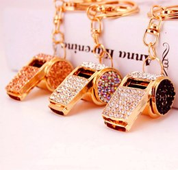 $enCountryForm.capitalKeyWord Australia - Crystal Whistle Keychain Keyring - Metal Key Chain Ring Holder Women HandBag Charm Accessory For Girls Women Purse Phone