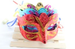 half face gold party masks UK - High Quality New Colorful Half Face Archaistic Antique Gold Powder Classic Mask Masquerade Party Masks W9150