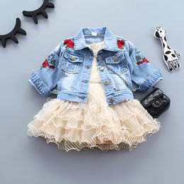 Jackets For Autumn Australia - Infant Baby Girls Jeans Jacket Flower Embroidery Vintage Kids Denim Coat For Girls Clothes Spring Autumn Children Outerwear Coat