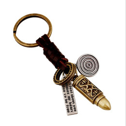 Wholesale vintage bullets for sale – custom Vintage Genuine Leather keychain Man Punk Alloy Bullet Pendant Key Chain Car Bag Key Ring Women Unique Creative Accessories