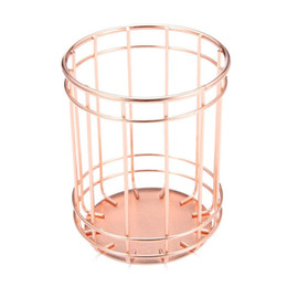 $enCountryForm.capitalKeyWord UK - Rose Gold Wire Stripes Pencil Holder Round Iron Mesh Pen   Pencil Cup Stationery Organizer Desk Sorter For Office Home School
