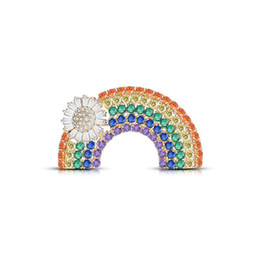 rainbow brooches UK - Colorful Personality Trend Copper Brooch Flowers Rainbow Copper Zircon Costumes Decorated With High Quality Wedding Graduation