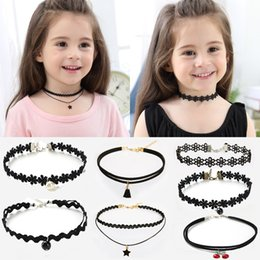 $enCountryForm.capitalKeyWord Australia - 11PCS Fashion Pretty Girls Black Multi Layer Lace Chains Necklace Kids Exquisite Gothic Stretch Choker Jewelry Children Necklace