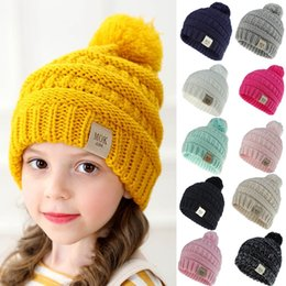 girl bobble hat Canada - Girls Boys Child Hat Keep Warm Winter Crochet Knitted Hat Caps Children Girl Boy Wool Fur Bobble Ball Pompom Beanies Hats Drop 9