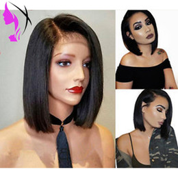 white black straight wig Australia - Straight Short Bob Black Wigs Synthetic Hair Lace Front Wigs For Women T Part Cosplay Natural Wig Glueless 14 inches
