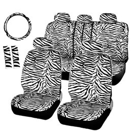 steering covers Canada - ZHIHUI Short Plush Luxury Zebra Seat Covers Universal Fit Most Car Seats Steering Wheel Cover Shoulder Pad White Seat Cover