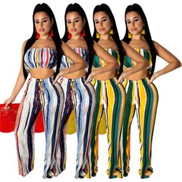 clothes wraps 2019 - Women Chest Wrap Pant Two Piece Set Crop Top Wide Leg Pant Sportswear Striped Sexy Summer Clothing Tracksuit Outfits 711