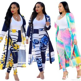 $enCountryForm.capitalKeyWord Australia - 2019 Summer print 2 Piece Set Women Cardigan Long Trench Tops And Bodycon Pant Suit Casual Clothes club Sexy Two Piece Outfits
