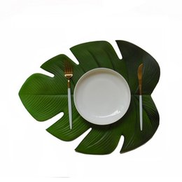 $enCountryForm.capitalKeyWord Australia - Placemat For Dining Table Coasters Lotus Leaf Palm Leaf Simulation Plant Cup Coffee Table Mats Kitchen Christmas Home Decor