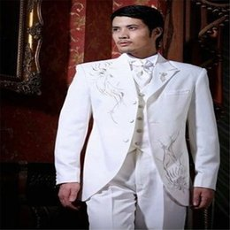 Cotton Embroidery Suits Images Australia - Classic Style White Suits Embroidery Groom Tuxedos Groomsmen Men's Wedding Prom Suits Formal Suits Sets (Jacket+Pants+Vest+Tie)