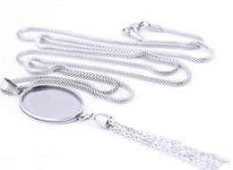 pendant trays Australia - Pendant Cabochon Base Settings Stainless Steel 18x25mm oval square Cameo bezels diy 80cm chain necklace trays with tassel