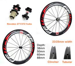 bicicleta de carbono 700C FFWD 38/50 / 60/88 mm de profundidad de 25 mm de ancho ruedas de carbono del camino del remachador / carbono Tubular juego de ruedas con Novatec 271/372 hubs en venta