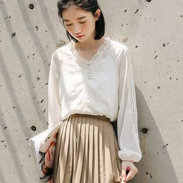 Big Lapel Shirt Loose Slim Lamp Korean Sweet Lace Hollowed Lace
