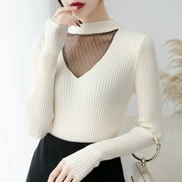 woman lace long NZ - new sweater for women 2019 autumn long sleeve women sweater pullover fashion mesh lace hollow winter clothes C306