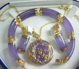 $enCountryForm.capitalKeyWord Australia - Wedding Jewelry Purple gem stone Pendant Bracelet and Earring Set > Bridal wide watch wing brinco real silver
