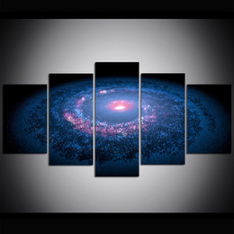 Large Size Art Wall Canvas UK - 5 Piece Large Size Canvas Wall Art Milky Way Oil Painting Wall Art Pictures for Living Room Paintings Wall Decor