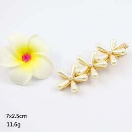 Pearl Bridal Jewellery Australia - flower pearl hair clip big barratte bridal shiny hair accessoreis korean fashion hair pins hand made factory costume jewellery