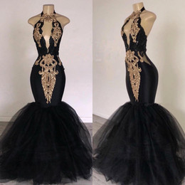 Royal blue pink decoRations online shopping - 2019 Black Prom Dresses with Gold Lace Decoration Mermaid Halter Neck Sweep Train South Africa Style Formal Evening Occasion Party Dresses