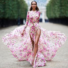 Discount casual ankle length dresses sleeves - Sexy high split summer dress Women floral print long dress streetwear 2019 new Pink boho maxi dress Girls Fashion Dres v