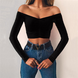 sexy t shirts for sale Australia - Women Summer Sexy Shirts 2019 Brand Hot Sale Womens Long Sleeve Slash Neck Slim Strapless Shoulder T Shirts Sexy Tops for Women 5 Colors