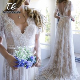$enCountryForm.capitalKeyWord NZ - Champagne Lace V-neck A-line princess Train Brush Bohemian Wedding Dress Butterfly Sleeve Nude Bridal Dress With Color Y19072901