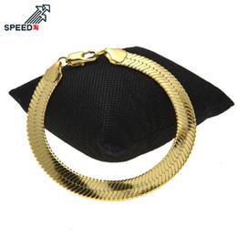 $enCountryForm.capitalKeyWord Australia - New European and American hip hop men's blade chain flat snake bone chain bracelet 1cm thick solid copper bracelet unisex