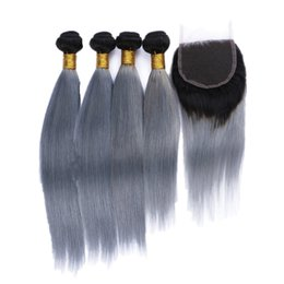 $enCountryForm.capitalKeyWord UK - Ombre Colored Two Tone Straight Hair Weaves With Top Closure Pieces 4x4 1B Silver Grey Ombre Human Hair 4Bundle With 4*4 Lace Closure