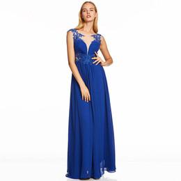 0580f5e0d Oscuro azul real vestido de noche largo abalorios barato cuello redondo  fiesta de bodas vestido formal una línea de apliques vestidos de noche