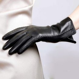 Wholesale 2019 new Elegant Women Leather Gloves Autumn And Winter Thermal Hot Trendy Female Glove Plus fluff