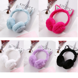 fleece earmuffs UK - Unicorn Ear Muffs Cat ears cute Cartoon Thicken Plush unicorn Earmuffs fleece Solid Color Kids Ear Warmer Earmuffs Headwear warm earmuffs