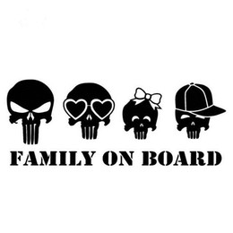funny family stickers UK - Family on board skull funny cartton stylish car sticker CA-463