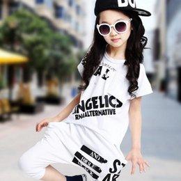 51aa43d6d Summer Girls Clothes Sets Kids Unisex Boy Girl Short Sleeve T-shirt  Top+Harem Pants 2Pc Hip Hop Dance Performance Costume