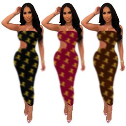 $enCountryForm.capitalKeyWord Australia - Brand C Letter Printed Strapless Dress Designer Woman Summer Dresses Summer Backless Chest Wrap Evening Dresses Party Club Clothing C7307