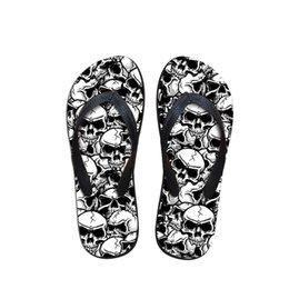 Customized Summer Beach Slippers For Men,man Fashion Skull Print Flip Flops,custom Designer Male Flipflops Rubber Slippers Other