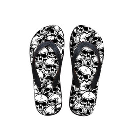 4ba4dab80 Customized Cool Punk Skull Zombie Design Men Flip Flops Fashion Summer  Beach Water Rubber Slippers Male flat Sandals Shoes