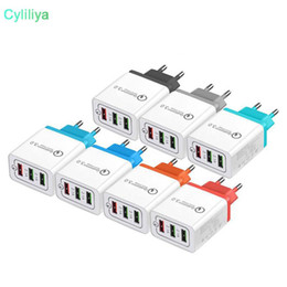 eu smart plug Australia - Q3.0 Quick Charger 3 USB Adapter US EU Plug Colorful Charging Wall Charger Plugs 3 Ports 2.1A 2.1A 3.1A Smart Phone Cellphone