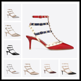 studs sandals Australia - Hot Sale-Designer Pointed Toe Studs Patent Leather rivets Sandals Women Studded Strappy Dress Shoes valentine 10CM 6CM high heel ShoesC00252