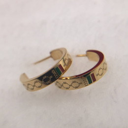 TibeT gold online shopping - Top famous Brand Designer half circle Earrings green red Letters Ear Stud Earring Jewelry Accessories for Women Wedding Gift
