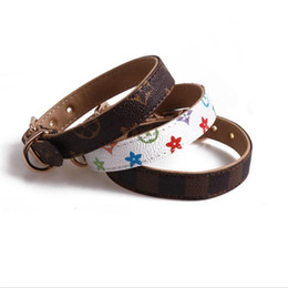 China Classic Pattern PU Leather Pets Collars Fashion Adjustable Brand Pet Dogs Cats Leashes Outdoor Personality Cute Pet Collar Accessories cheap outdoor dog collars suppliers