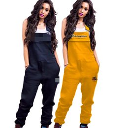 3d554ce7d2f Spring Women Embroidery Champions Letters Jumpsuit Casual Suspender Pants  Fashion Overalls Girls Sleeve Romper Brace Trousers S-2xl A3202