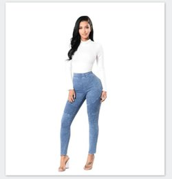 light color clothes Canada - Womens Light Washed Solid Color Jeans Sexy Slim Designer Casual Skinny High Waist Pencil Pants Womens Fashion Casual Clothes