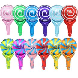 foil stick UK - holiday candy sugar hand stick balloons helium flying Foil Balloons Inflatable Toys Party Decorations Kids Helium Balloons manufacturer