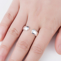 $enCountryForm.capitalKeyWord Australia - Oly2u Cute Silver Animal Open Rings for Girlfriend Gift Lovely Dog Cat Jewelry Pet Accessories Anillos Mujer