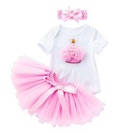 BaBy cloth short sleeve online shopping - Retail colors girls boutique outfits summer skirts set baby short sleeve cartoon romper tutu skirt headband tracksuit designer cloth