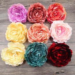 flower garden edging NZ - 5 Pcs (10 Cm flower) Artificial Silk Edge Illustration Vase Peony Flower Heads Home Garden Decoration Wedding Diy Wreath