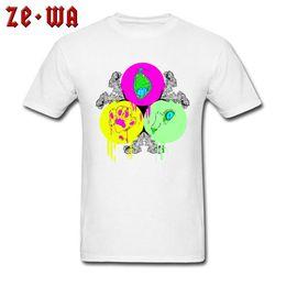 White Cat Paws Australia - Men T-Shirt Summer Autumn T Shirt 100% Cotton TShirt Big Cat Eye & Paw Print Tops Art Design Tees White Clothing High Street