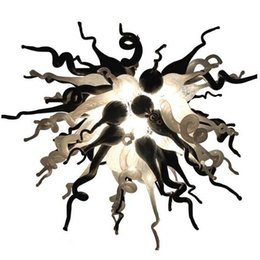 Black Hand Pendant Australia - Beautiful Small White and Black Glass Chandelier LED Bulbs Modern Art Deco Chihuly Style 100% Hand Blown Glass Pendant Lighting Lamps